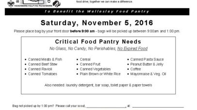 Food Drives – Scouting for Food Nov. 5!